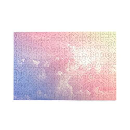 PUIO Sierra calar de 1000 Piezas,Gradiente de Colores Pastel Suave Nube Cielo,Juegos Rompecabezas imágenes para Adultos y niños Regalo graduación de Boda Familiar
