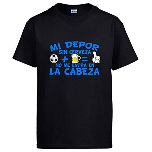 Camiseta Mi Depor sin Cerveza no me entra en la Cabeza - Negro, L