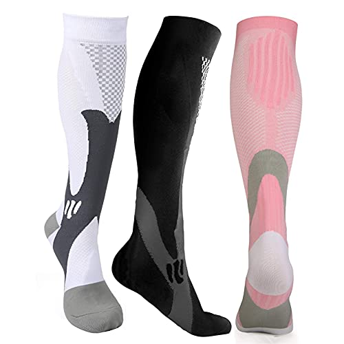 KSHYE Compression Socks 20-30 mmHg for Men Women Medical Nurses Athletic Sport Stockings (Color : Pink, Size : S-M (34-37))