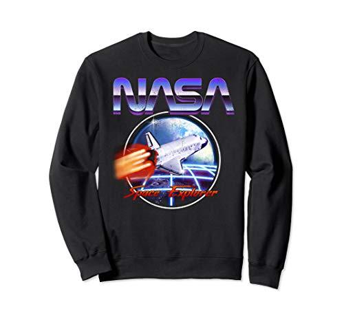 Unisex NASA Space Explorer 80s Chrome Logo Sweatshirt, S to 2XL