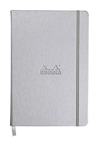 Rhodia 118767C Web Notebook (elfenbein 90 g, DIN A5, 140 x 210 mm, dot grid, 96 Blatt) 1 Stück silber