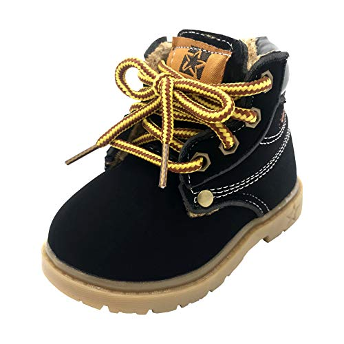 Boys Girls Waterproof Fur Lined Work Boots Toddler Classic Ankle Plush Boots Anti-Slip Hiking Martin Boots for Kids Black Size 5 Toddler(21)