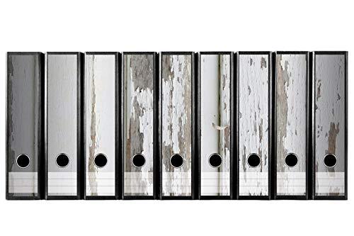 codiarts. Set 9 Stück breite Ordner-Etiketten selbstklebend Ordnerrücken Sticker Aufkleber alte Holzplanken mit abblättender Farbe weiss Holzoptik Holz vintage weiss