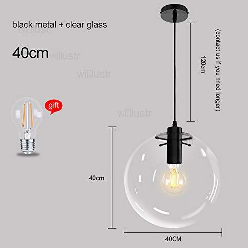 5151BuyWorld Lamp lamp, transparant, hanger van glas, helder, Mondial, LED, kristal, lampenkap, kogel, licht, restaurant, hotel, verlichting, plafondlamp, zwart 40 cm en zwart 40 cm