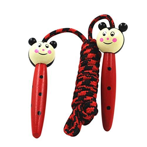 Andouy Verstellbare Springseil für Kinder, Einstellbar Springen Seil mit Cartoon Holzgriff und Baumwollseil, Ideal für Fitness Training/Spiel/Fett Brennen Übung(3M.Rot-2)