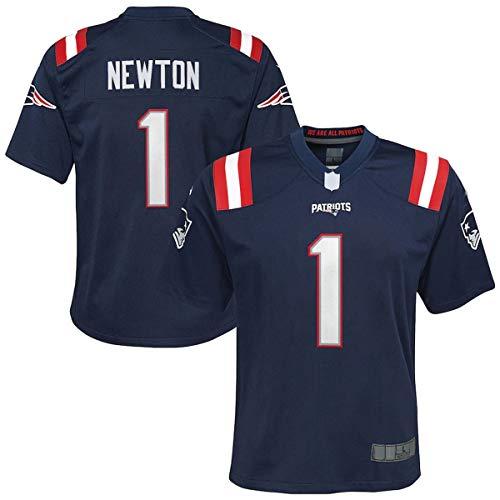 OUOUO Camiseta de fútbol americano al aire libre Rugby ropa Cam Nueva Inglaterra # 1 Marina, Newton Patriots Kids Game Jersey transpirable sudadera para niños