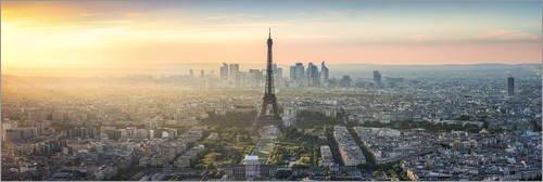 Tableau en Verre Acrylique 60 x 20 cm: Paris Skyline with Eiffel Tower at Sunset de Jan Christopher Becke