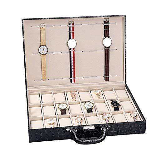 qwertyuio Cajas De Reloj Para Hombres Caja De Reloj Con 24 Ranuras Organizador De Relojes Para Hombre Exhibición De Joyas Con Cerradura Cuero Sintético Negro Exclusivo