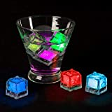 Lavish Home LED Ice Cube Shape Lights Liquid Activated Submersible, Reusable-Color Change, Battery Operated for Weddings, Parties (12 Pack), Multicolor