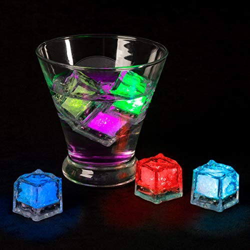 """Lavish Home LED Ice Cube Shape Lights-Liquid Activated Submersible, Reusable-Color Change, Battery Operated for Weddings, Parties (12 Pack), (L) 1.06""""x (W) 1.06""""x (H) 1.06"""", Multicolor, 12 Count"""