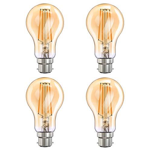 MoKo Smart WLAN Edison Vintage Glühbirne, B22 7.5W WiFi Birne Dimmbar LED Lampe Glühlampe Retro Glühbirnen Kompatibel mit Alexa Echo Google Home SmartThings, Fernsteuerung Timer Warmweiß Licht, 4 Pack