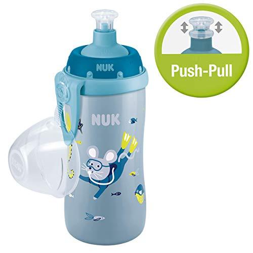 Nuk Junior Cup Trinklernflasche, mit Push-pull-Tülle & Clip, auslaufsicher, BPA frei, 300ml, Maus (Blau)