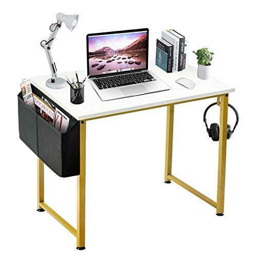LUFEIYA Small Computer Desk White Writing Table for Home Office Small Spaces 31 Inch Modern Student Study Laptop PC Desks with Gold Legs Storage Bag Headphone Hook,White Gold