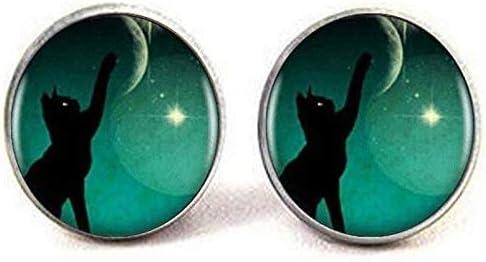Black Baltimore Mall Cat Cufflinks Handmade Picture Vintage Ranking TOP16 Art Jewelry