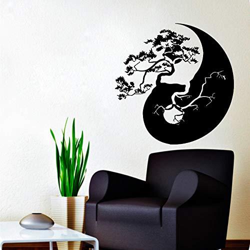 zhuziji Romántico Pegatinas de Pared Sipdermantree Bonsai Yin Yang Patrón Hogar Elegante S Wmvinyl Impermeable Autoadhesivo Peluquería, Salón de Belleza Mural de pared72x72cm