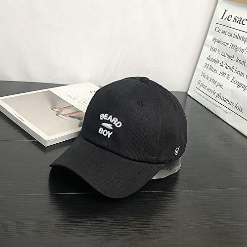 Letra Tridimensional Gorra de béisbol Bordada otoño e Invierno Moda Salvaje Gorra Joven Estudiante Sunhat Hembra Negro M (56-58cm)