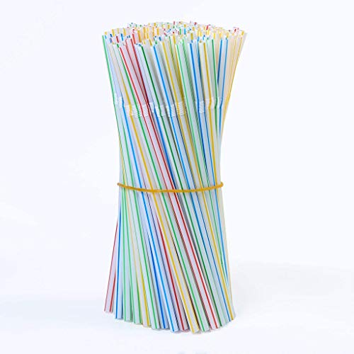 200 /100 pezzi di cannucce in plastica da 8 pollici a strisce multicolori ,Cannucce flessibili in Plastica, Cannucce usa e getta in plastica,per feste / bar / negozi di bevande / la casa (A)