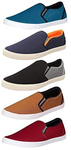 Chevit Men's Blue, Grey, Tan and Maroon Casual Loafers and Sneakers Shoes (10 UK) -Combo Pack of 5
