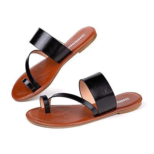 Sandales Femme Plates Tongs Pantoufle Ete Chaussures Bout Ouvert Flip Flop Claquette Cuir Synthétique Plage Confortables Noir-1 38 EU