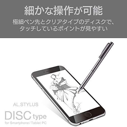 『エレコム タッチペン 極細 ディスクタイプ iPhone スマートフォン Nintendo Switch 対応 サスペンション機能付 ペン先交換可能 グレー P-TPLD01GY』の2枚目の画像