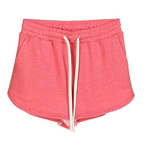 N\P Más el tamaño de verano pantalones cortos de algodón de las mujeres pantalones de deporte de cintura alta color caramelo hogar suelto casual pantalones cortos con bolsillo