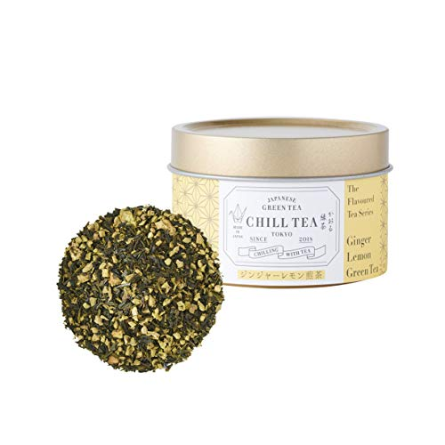 Té verde de limón y jengibre de CHILL TEA Tokyo - Té verde de hojas sueltas 100% japonés - Rico en nutrientes y antioxidantes - Sabor cítrico picante (30g)