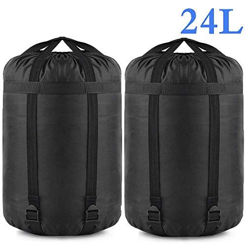 Compression Stuff Sack, 2 Pack Sleeping Bags Storage Stuff Sack Organizer Waterproof for Travel - Great Sleeping Bags Clothes Camping Hiking Backpacking Bag By Borogo