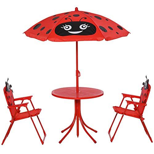 HOMCOM Kids Garden Picnic Table Chair with UV Umbrella Foldable Patio Set Lady Bug Print Play Seat Yard Folds Children Outdoor Furniture w/Umbrella
