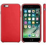 Funda de Silicona Silicone Case para iPhone 6 Plus, iPhone 6S Plus, Tacto Sedoso Suave, Carcasa Anti Golpes, Bumper, Forro de Microfibra… (Rojo Camelia)