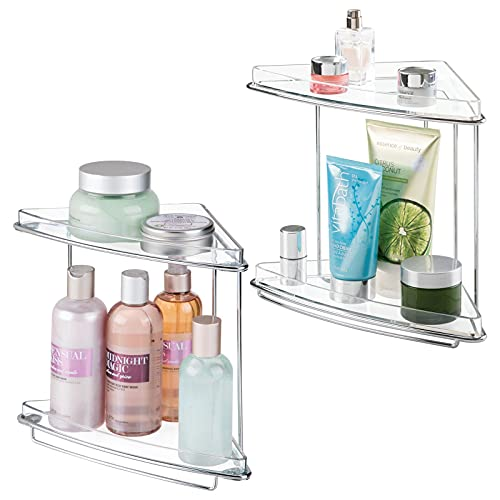 mDesign Metal 2-Tier Corner Storage Organizing Caddy Stand for Bathroom Vanity Countertops, Shelving or Under Sink - Free Standing, 2 Shelves, 2 Pack - Clear/Chrome