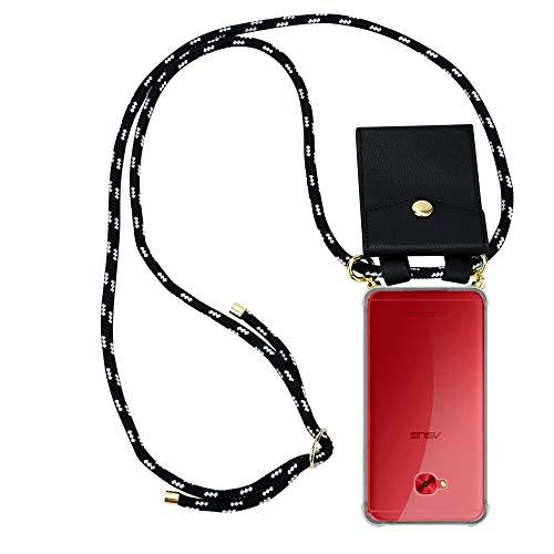 Cadorabo Handy Kette für Asus ZenFone 4 Selfie PRO in SCHWARZ Silber - Silikon Necklace Umhänge Hülle mit Gold Ringen, Kordel Band Schnur & abnehmbarem Etui – Schutzhülle