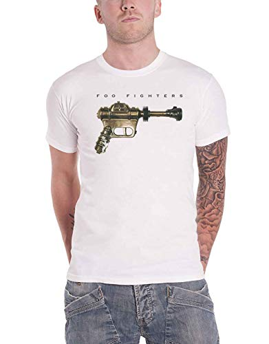 Foo Fighters T Shirt Ray Gun Band Logo Nuovo Ufficiale Uomo Bianca Size S