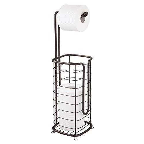 mDesign Toilettenpapierhalter ohne Bohren – Klorollenhalter fürs Badezimmer – Papierrollenhalter für vier Rollen – bronzefarben