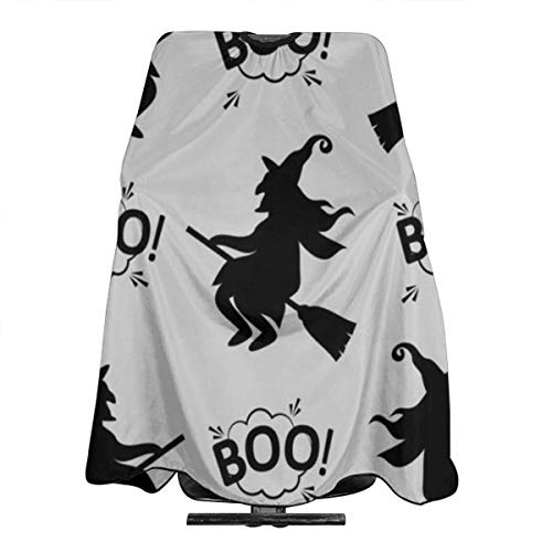 MODORSAN Barber Cape Halloween Cute Lustige Hexe Flying Boo Cloud Cape Unisex 55 * 66 in Haarschneidekap für Haarbehandlung-Schneiden/Perming Snap Neck Closure-3D Print 1