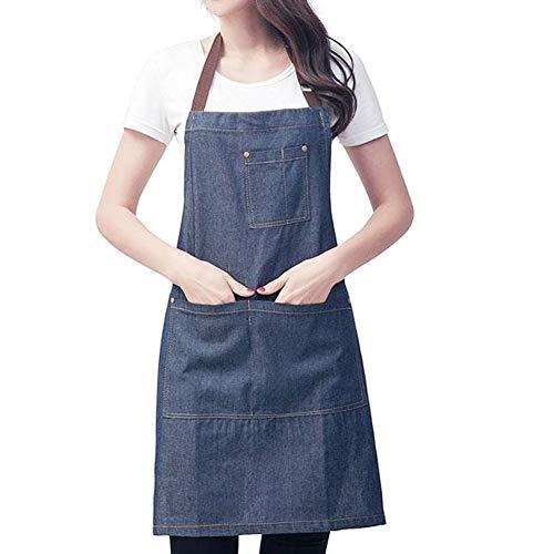 Denim Schürze,Unisex verstellbare Latzschürze mit 3 Taschen,Kochschürze Küchenschürze Frauen Männer Schürzen für Küche,Restaurant,Café