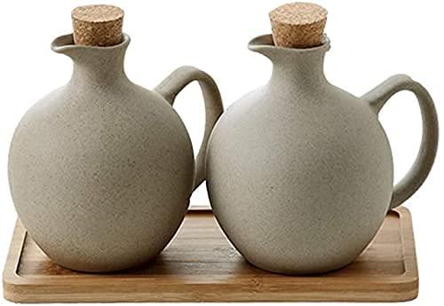 HaoLi Ollas de vinagre de Aceite, vinagrera de Aceite y vinagre, Botella de Aceite de Oliva de 500 ml, Juego de dispensador de vinagre con Bandeja de Madera, cerámica, aceitera de vinagrera, Lata de