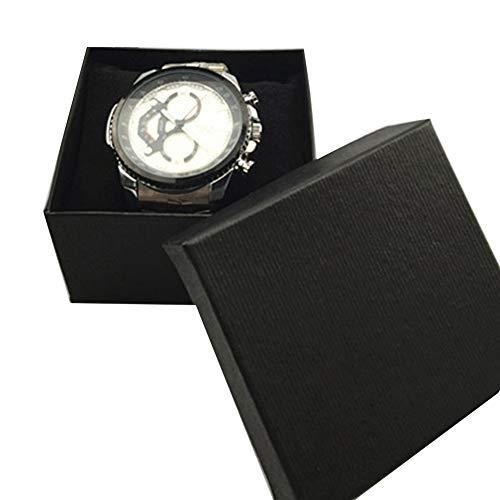 bismarckber Square Cardboard Jewelry Gift Box Watch Bracelet Bracelet Storage Organizer Display Holder Container Packaging Gift Box Black