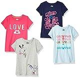 Spotted Zebra Girls' Kids Disney Star Wars Marvel Frozen Princess Short-Sleeve T-Shirts, 4-Pack Minnie Love, Medium