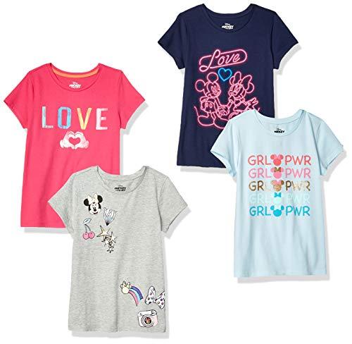 Spotted Zebra Girls' Kids Disney Star Wars Marvel Frozen Princess Short-Sleeve T-Shirts, 4-Pack Minnie Love, Small