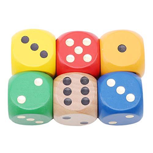 Bigsweety 6 Stücke Holz Würfel Set Große Gaming Würfel Klassisches Spiel Spielzeug Zubehör Große Würfel Spielen Requisiten