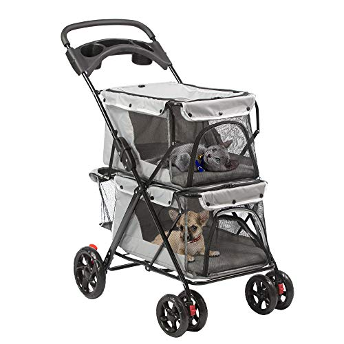 Koreyosh 4 Wheels Pet Stroller Dog Stroller Cat Stroller for Small Pets Puppies and Kitty Double Deck Folding Pet Stroller,Great for Twin or Multiple Pet Travel