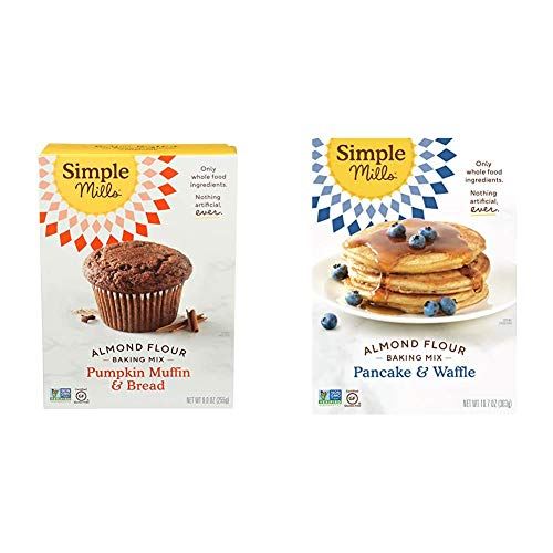 Simple Mills Almond Flour Baking Mix, Gluten Free Pumpkin Bread Mix, Muffin pan ready, Made with whole foods & Almond Flour Pancake Mix & Waffle Mix, Gluten Free, Made with whole foods