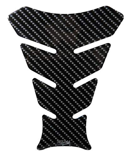 BIKE-label Tankpad 3D Motorrad Schutz Aufkleber Carbon Optik Schwarz Druck 502987-VA