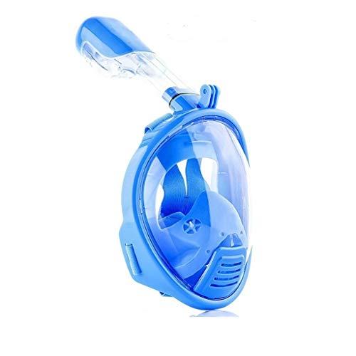 DSAEFG Máscara Completa de Snorkel para Buceo Campo de visión para niños de 180 ° Easy-Breathe y mascarilla Facial de diseño antivaho (Color : Blue)