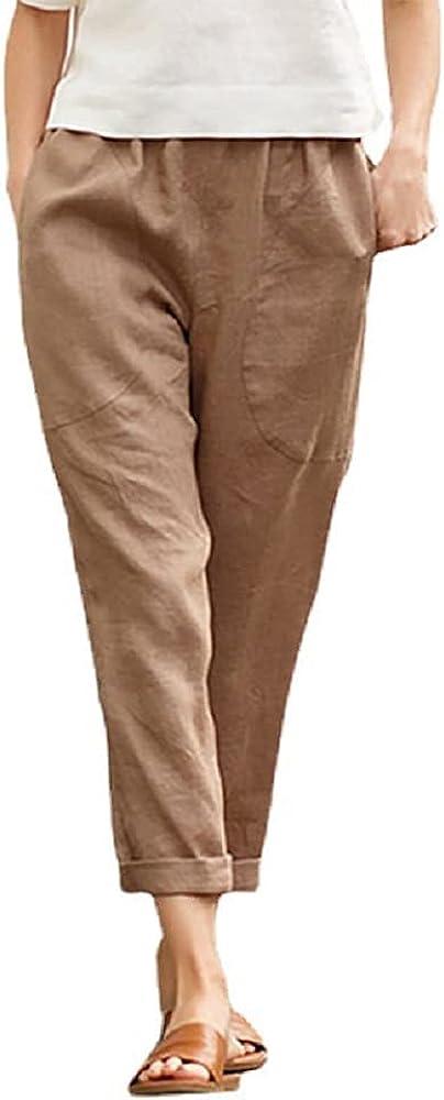 Women's Cotton Pants Elastic Waist Casual Crop Pants Trousers Loose Pants with Pockets
