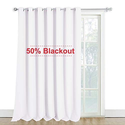 NICETOWN Extra Wide and Long Curtain - Thermal Insulated Drape Voice Canceling for Room Divider/Patio/Glass Door (White, 100 inches Width, 108 inches Length, Single Piece)