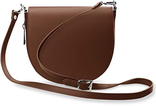 halbrunde Leder - Damentasche Schultertasche Umhängetasche mit Klappe italienisches Design sehr elegant braun