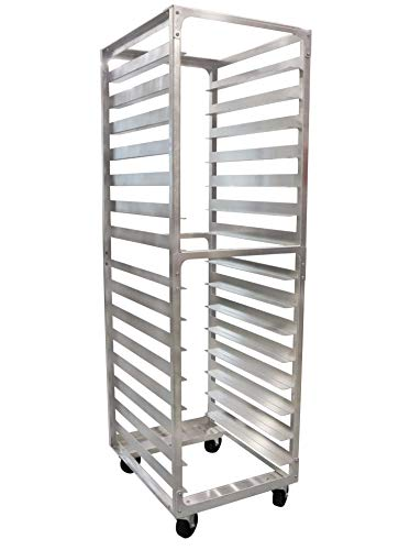 SHOPCraft 15 Pan 4' Spacing Commercial Grade Aluminium Bun Racks, Heavy Duty Sheet Baking Pan Rack For Bakery, Restaurant & Catering, 15 Tier 20.5' x 26' x 70' Rack With Heavy Duty Plate Casters And Non-Marking Polyolefin Wheels