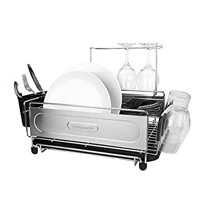 "Cuisinart Stainless Steel Dish Drying Rack – Includes Wire Dish Drying Rack, Utensil Caddy, Draining Board, Stemware Holder, and Non-Slip Cup Holders, 14.4"" x 12"" x 6""- Stainless Steel/Black"