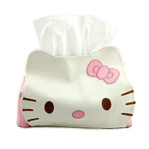 sailorsunny Funda de Piel sintética para pañuelos de Coche, diseño de Hello Kitty, Color Rosa